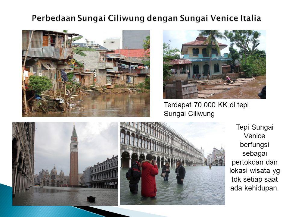 Terdapat 70.000 KK di tepi Sungai Ciliwung Tepi Sungai Venice berfungsi sebagai pertokoan dan lokasi wisata yg tdk setiap saat ada kehidupan.