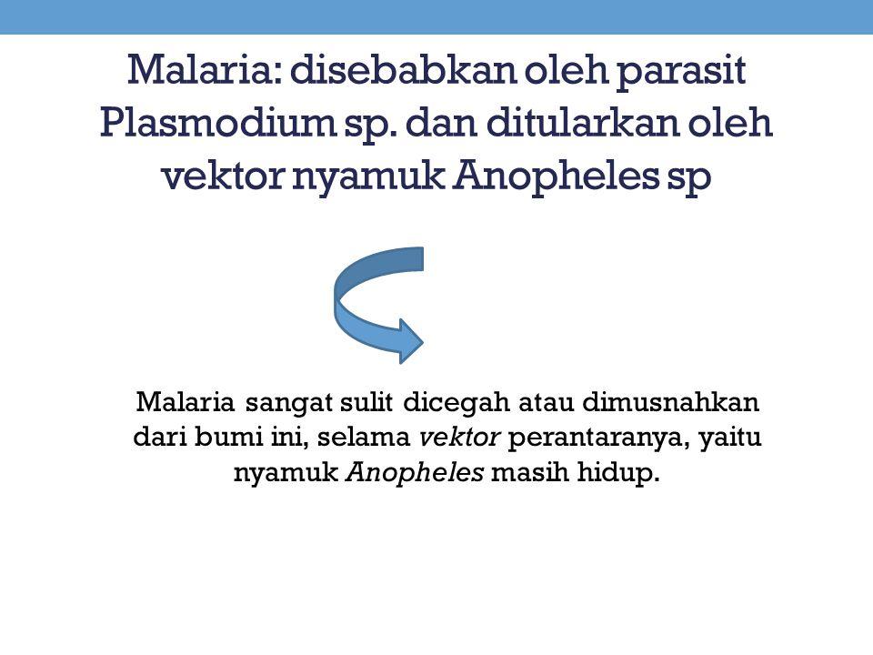 Malaria: disebabkan oleh parasit Plasmodium sp. dan ditularkan oleh vektor nyamuk Anopheles sp Malaria sangat sulit dicegah atau dimusnahkan dari bumi