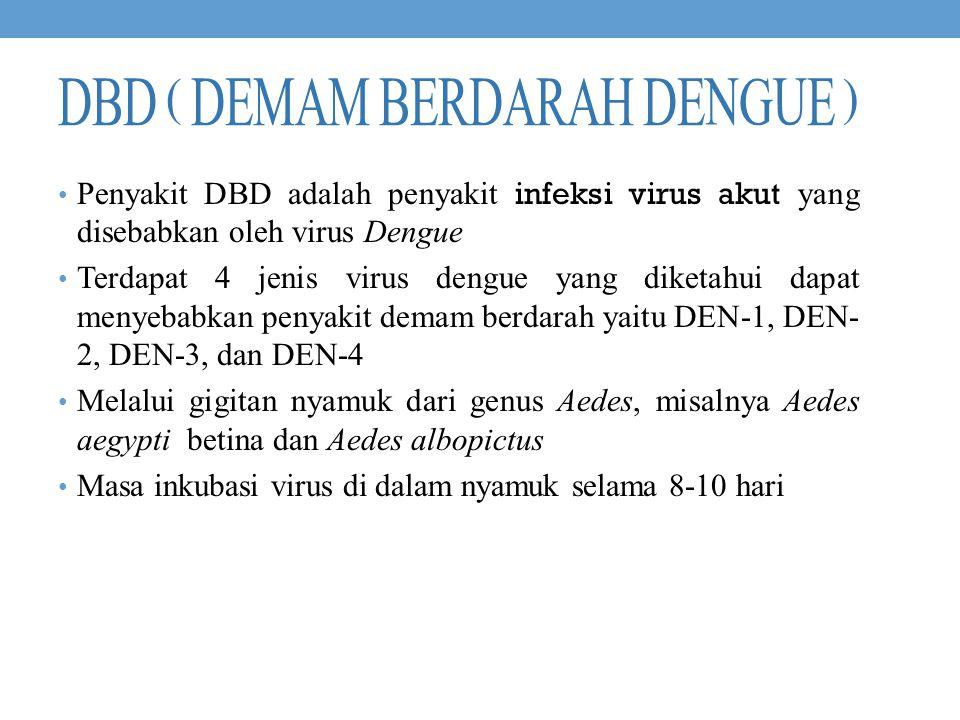 DBD ( DEMAM BERDARAH DENGUE ) Penyakit DBD adalah penyakit infeksi virus akut yang disebabkan oleh virus Dengue Terdapat 4 jenis virus dengue yang dik