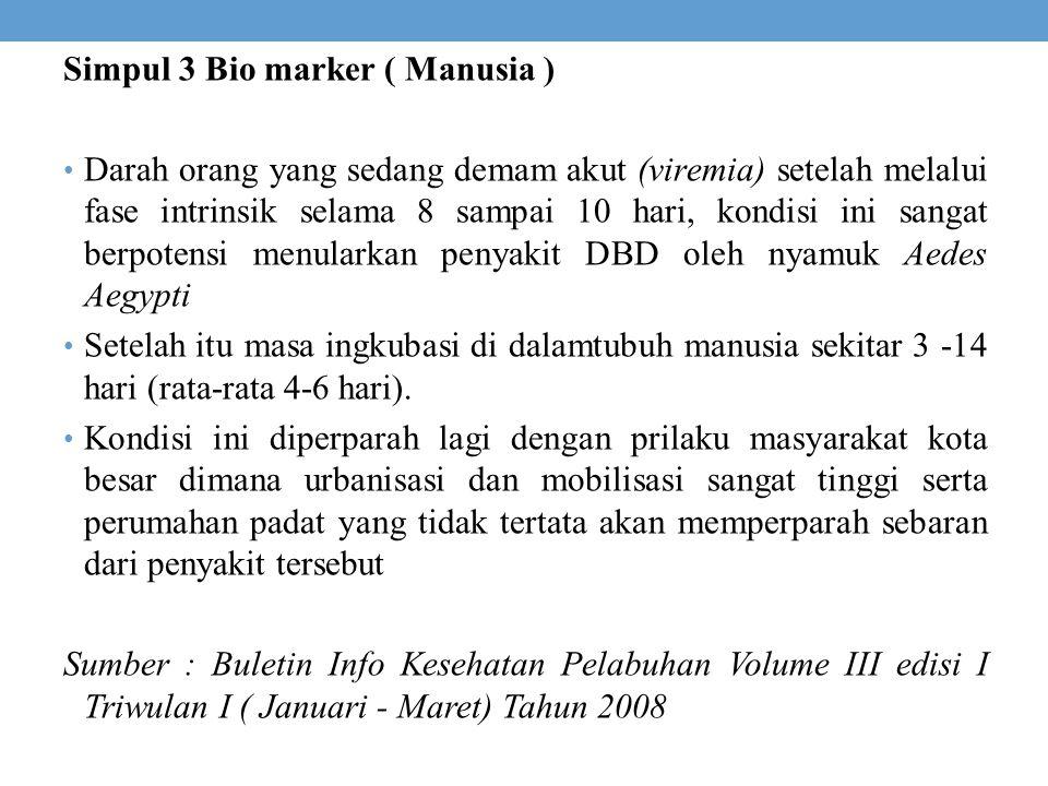 Simpul 3 Bio marker ( Manusia ) Darah orang yang sedang demam akut (viremia) setelah melalui fase intrinsik selama 8 sampai 10 hari, kondisi ini sanga