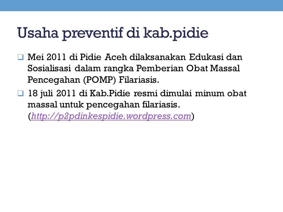 Usaha preventif di kab.pidie  Mei 2011 di Pidie Aceh dilaksanakan Edukasi dan Sosialisasi dalam rangka Pemberian Obat Massal Pencegahan (POMP) Filari