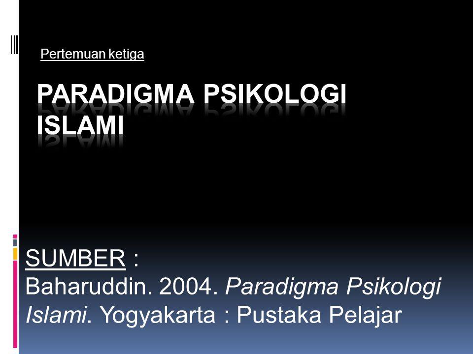 SUMBER : Baharuddin. 2004. Paradigma Psikologi Islami. Yogyakarta : Pustaka Pelajar Pertemuan ketiga