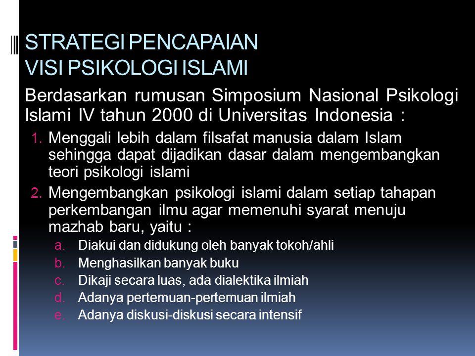 STRATEGI PENCAPAIAN VISI PSIKOLOGI ISLAMI Berdasarkan rumusan Simposium Nasional Psikologi Islami IV tahun 2000 di Universitas Indonesia : 1. Menggali