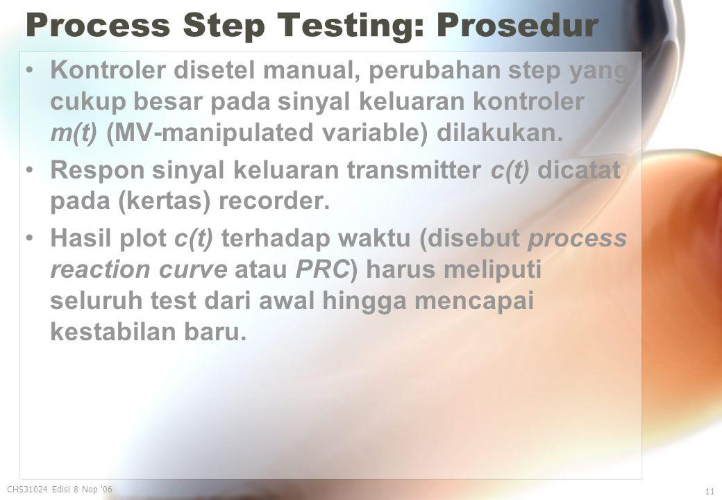 Process Step Testing: Prosedur Kontroler disetel manual, perubahan step yang cukup besar pada sinyal keluaran kontroler m(t) (MV-manipulated variable) dilakukan.