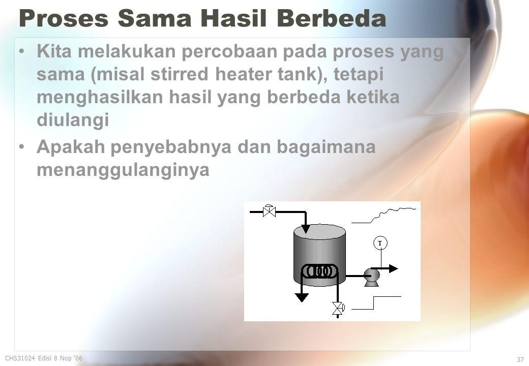 Proses Sama Hasil Berbeda Kita melakukan percobaan pada proses yang sama (misal stirred heater tank), tetapi menghasilkan hasil yang berbeda ketika diulangi Apakah penyebabnya dan bagaimana menanggulanginya CHS31024 Edisi 8 Nop 06 37