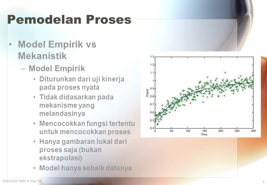 Pemodelan Proses Model Empirik vs Mekanistik –Model Empirik Diturunkan dari uji kinerja pada proses nyata Tidak didasarkan pada mekanisme yang melandasinya Mencocokkan fungsi tertentu untuk mencocokkan proses Hanya gambaran lokal dari proses saja (bukan ekstrapolasi) Model hanya sebaik datanya CHS31024 Edisi 8 Nop 06 5