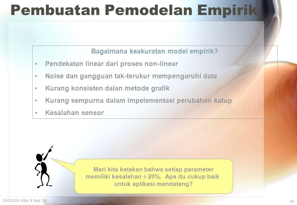 Pembuatan Pemodelan Empirik CHS31024 Edisi 8 Nop 06 56 Bagaimana keakuratan model empirik.