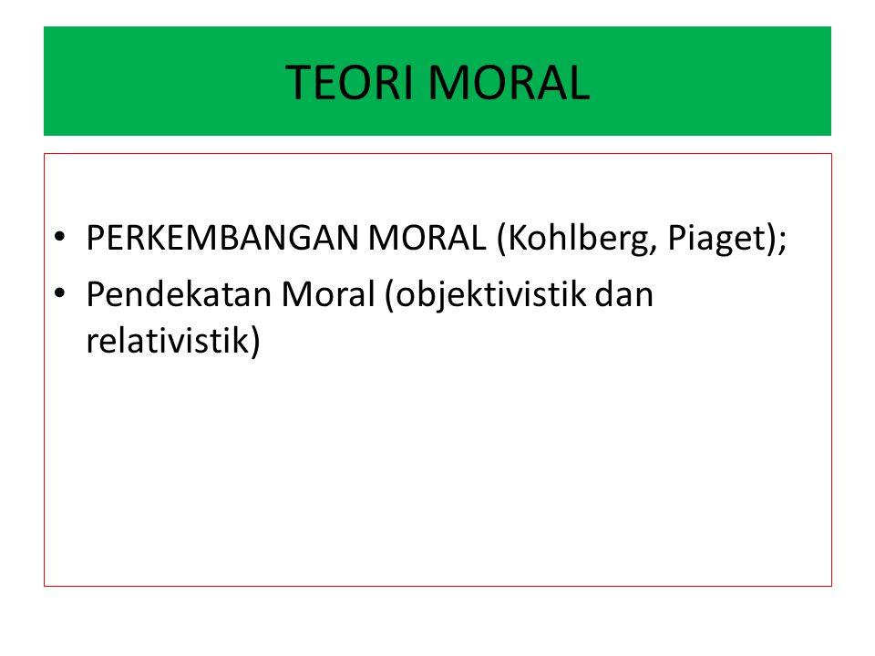 TEORI MORAL PERKEMBANGAN MORAL (Kohlberg, Piaget); Pendekatan Moral (objektivistik dan relativistik)