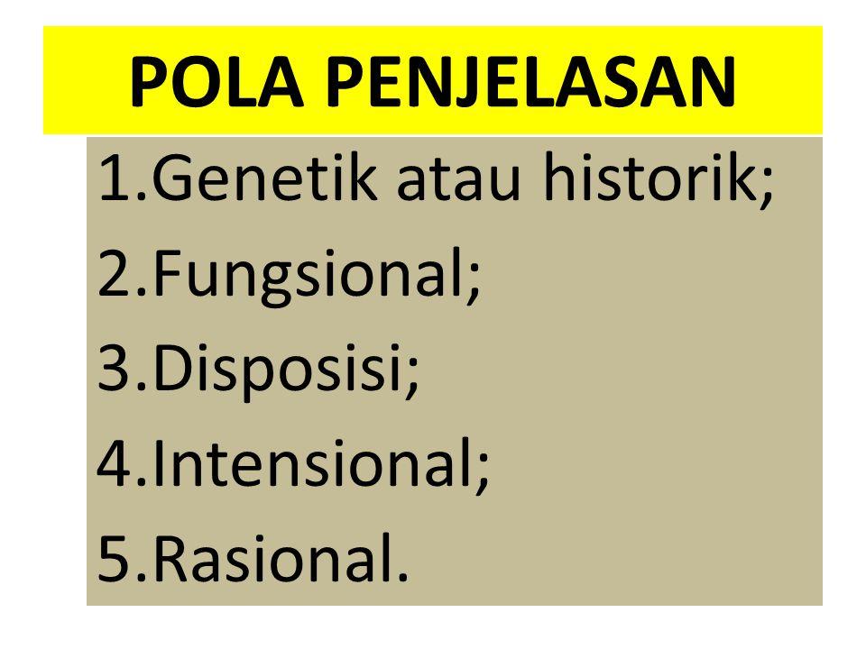 POLA PENJELASAN 1.Genetik atau historik; 2.Fungsional; 3.Disposisi; 4.Intensional; 5.Rasional.