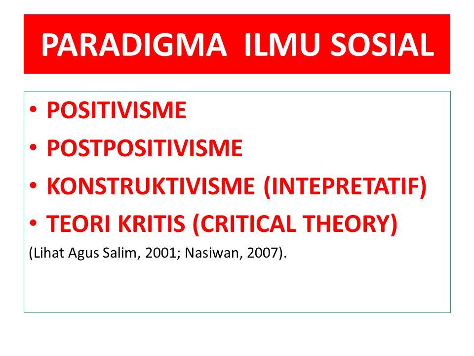 PARADIGMA ILMU SOSIAL POSITIVISME POSTPOSITIVISME KONSTRUKTIVISME (INTEPRETATIF) TEORI KRITIS (CRITICAL THEORY) (Lihat Agus Salim, 2001; Nasiwan, 2007