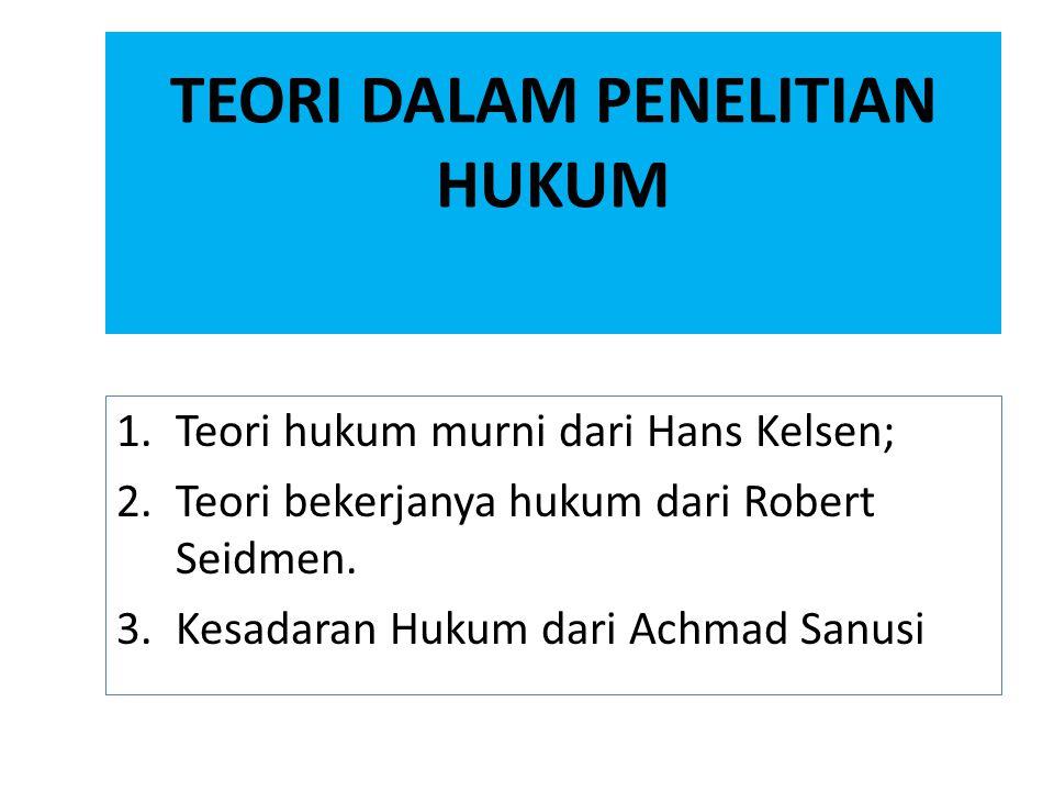 TEORI DALAM PENELITIAN HUKUM 1.Teori hukum murni dari Hans Kelsen; 2.Teori bekerjanya hukum dari Robert Seidmen. 3.Kesadaran Hukum dari Achmad Sanusi
