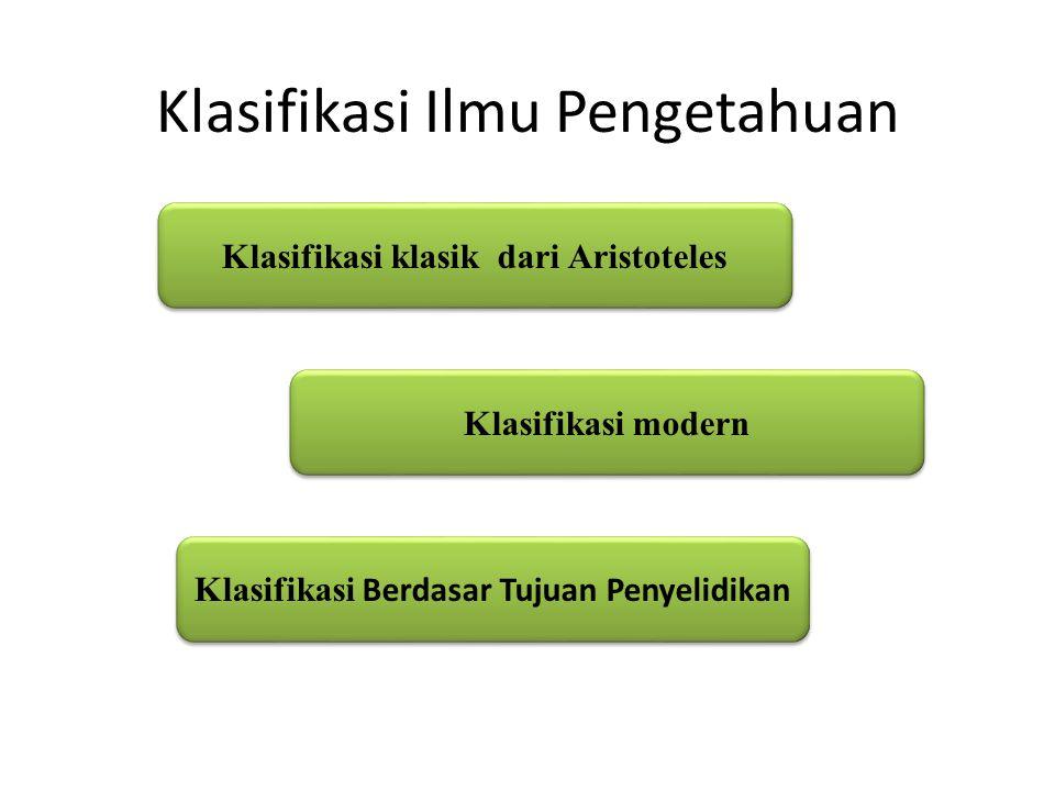 Klasifikasi Ilmu Pengetahuan Klasifikasi klasik dari Aristoteles Klasifikasi modern Klasifikasi Berdasar Tujuan Penyelidikan Klasifikasi Berdasar Tujuan Penyelidikan
