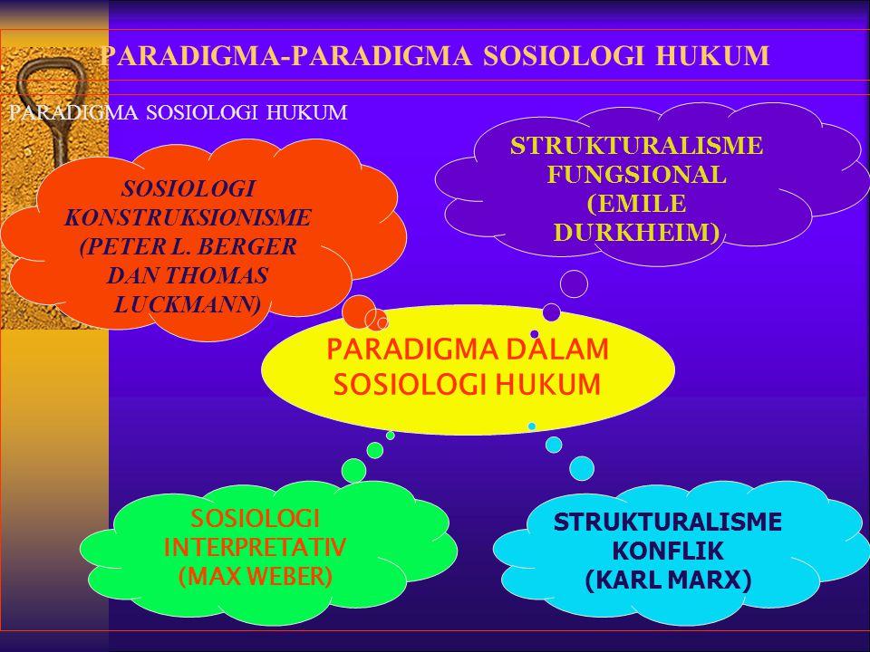 FUNGSIONALISME EMILE DURKHEIM FUNGSIONALISME SOSIOLOGI HUKUM DURKHEIMIAN MASYARAKAT DIBAGI ATAS DUA KATEGORI: MEKANIK DAN ORGANIK BAIK MEKANIK MAUPUN ORGANIK BEKERJA SECARA FUNGSIONAL = HARMONI KATA KUNCINYA: KESADARAN KOLEKTIF DASAR PERJUANGANNYA : MORALITAS SOSIAL HUKUM: REPRESIF DAN RESTITUTIF SUBSTANSI HUKUM: SEBAGAI PENGINTEGRASI SOSIAL REALITAS SOSIAL: KATEGORIAL METODE: KUANTITATIF/ ERKLAREN