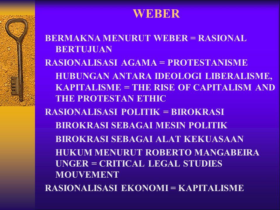 WEBER BERMAKNA MENURUT WEBER = RASIONAL BERTUJUAN RASIONALISASI AGAMA = PROTESTANISME HUBUNGAN ANTARA IDEOLOGI LIBERALISME, KAPITALISME = THE RISE OF