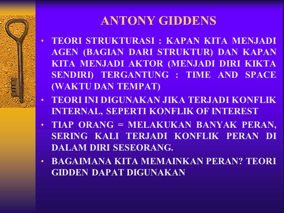 ANTONY GIDDENS TEORI STRUKTURASI : KAPAN KITA MENJADI AGEN (BAGIAN DARI STRUKTUR) DAN KAPAN KITA MENJADI AKTOR (MENJADI DIRI KIKTA SENDIRI) TERGANTUNG