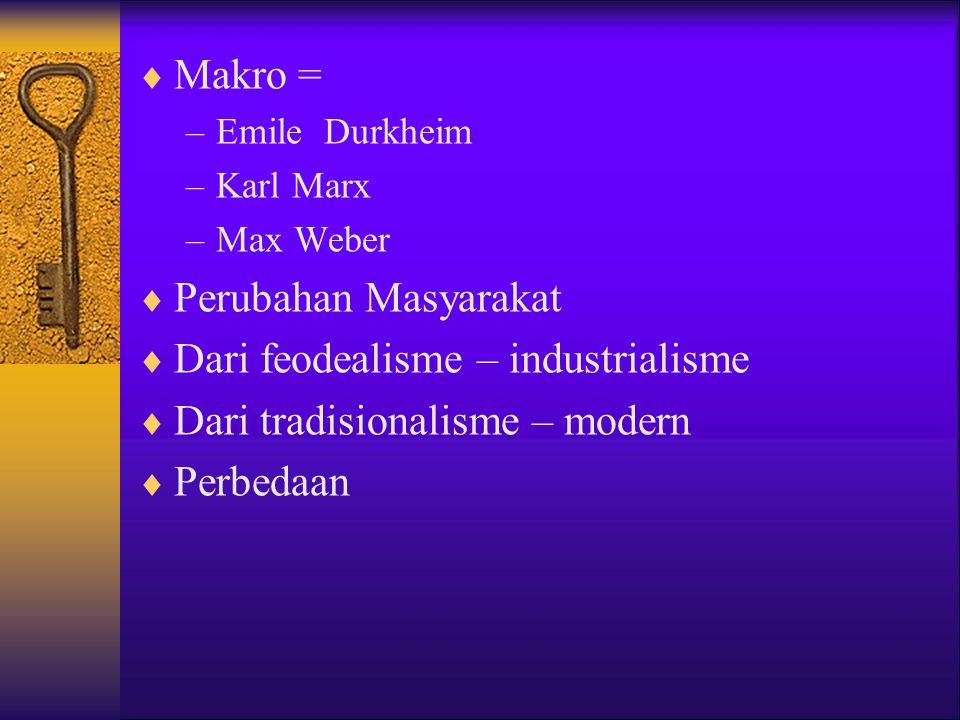  Makro = –Emile Durkheim –Karl Marx –Max Weber  Perubahan Masyarakat  Dari feodealisme – industrialisme  Dari tradisionalisme – modern  Perbedaan