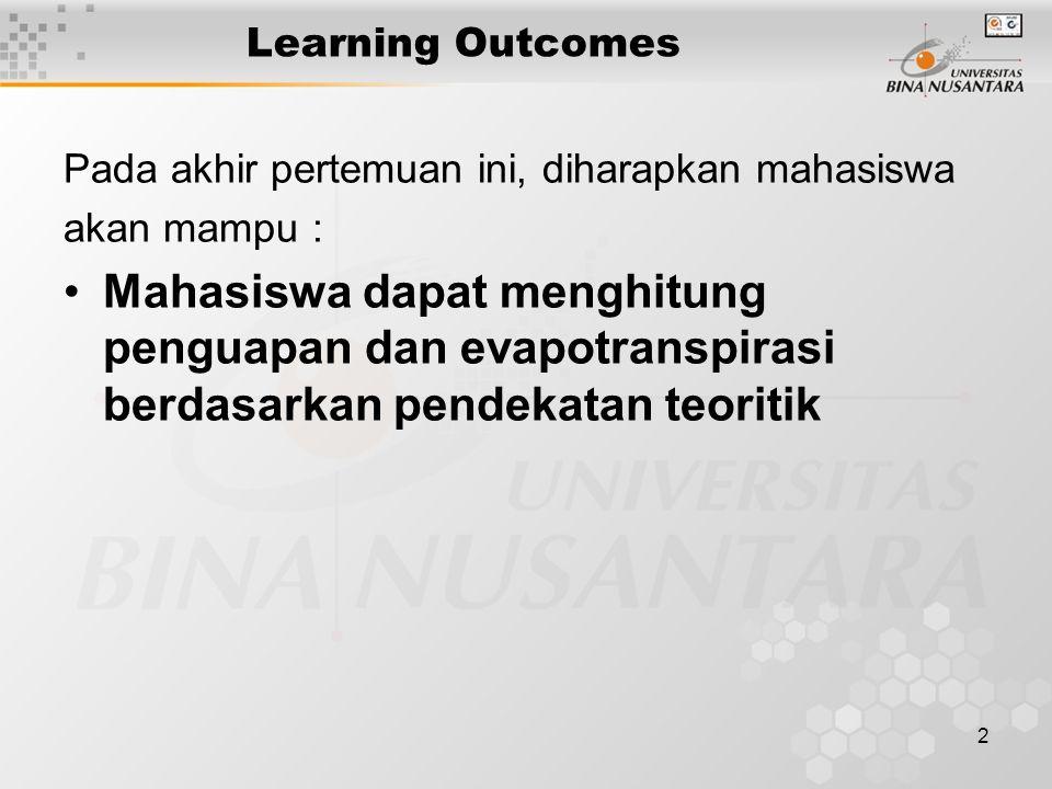 2 Learning Outcomes Pada akhir pertemuan ini, diharapkan mahasiswa akan mampu : Mahasiswa dapat menghitung penguapan dan evapotranspirasi berdasarkan pendekatan teoritik