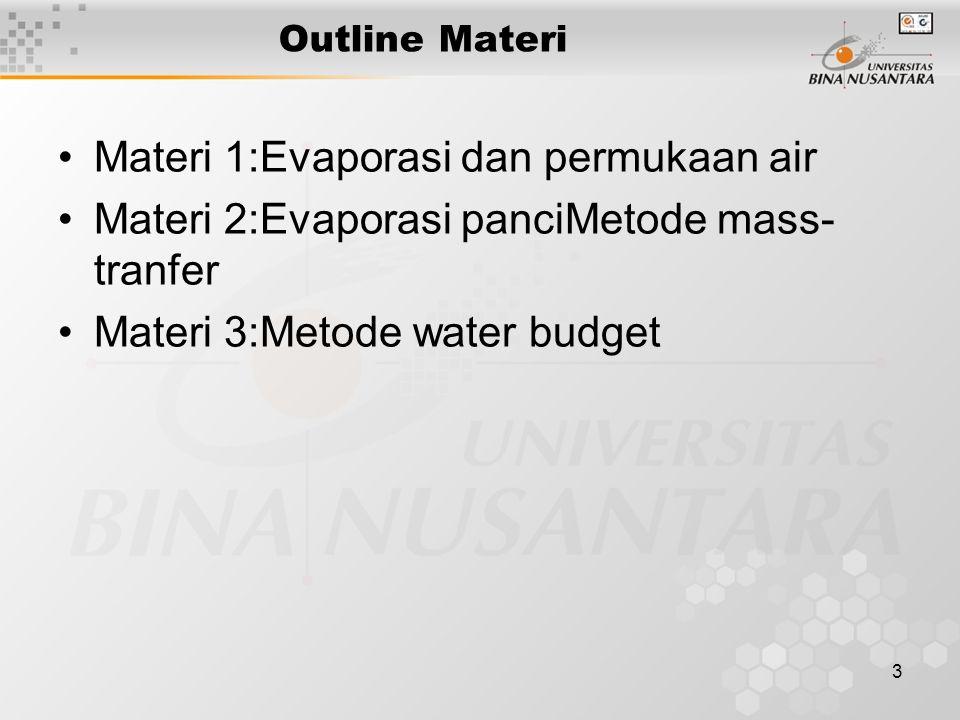 3 Outline Materi Materi 1:Evaporasi dan permukaan air Materi 2:Evaporasi panciMetode mass- tranfer Materi 3:Metode water budget