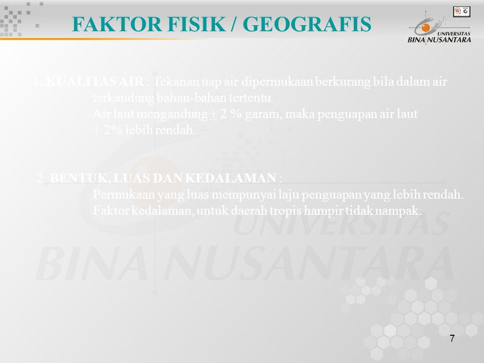 7 FAKTOR FISIK / GEOGRAFIS 1.