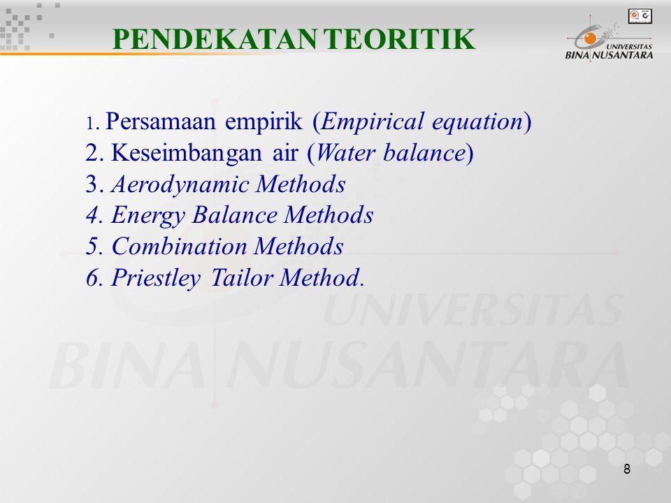 8 PENDEKATAN TEORITIK 1.Persamaan empirik (Empirical equation) 2.