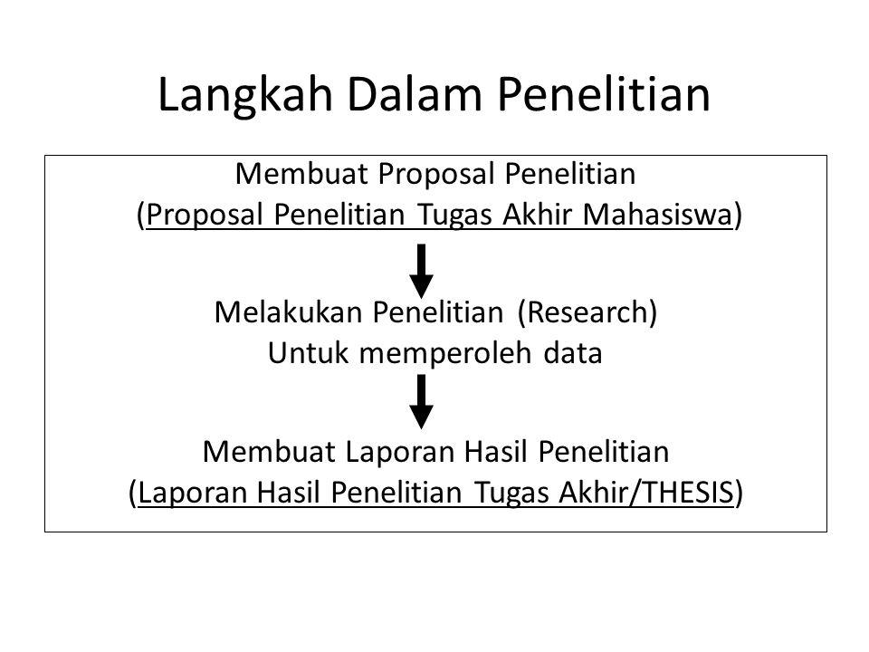 Membuat Proposal Penelitian (Proposal Penelitian Tugas Akhir Mahasiswa) Melakukan Penelitian (Research) Untuk memperoleh data Membuat Laporan Hasil Pe