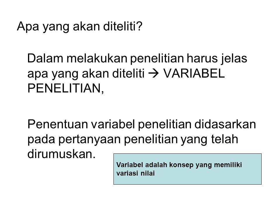 Apa yang akan diteliti? Dalam melakukan penelitian harus jelas apa yang akan diteliti  VARIABEL PENELITIAN, Penentuan variabel penelitian didasarkan