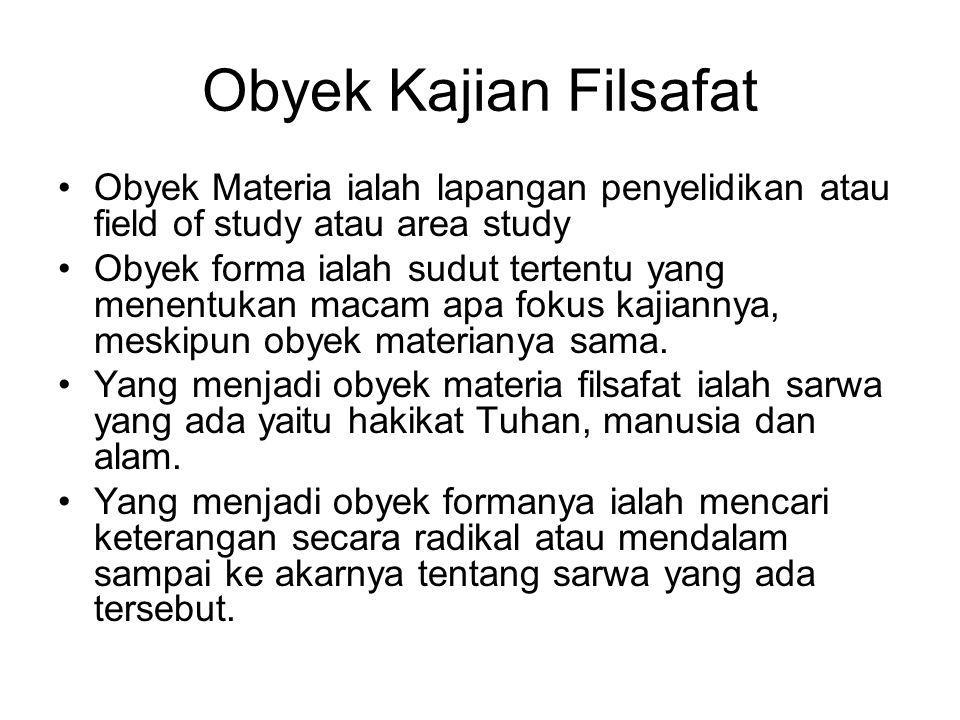 Obyek Kajian Filsafat Obyek Materia ialah lapangan penyelidikan atau field of study atau area study Obyek forma ialah sudut tertentu yang menentukan m