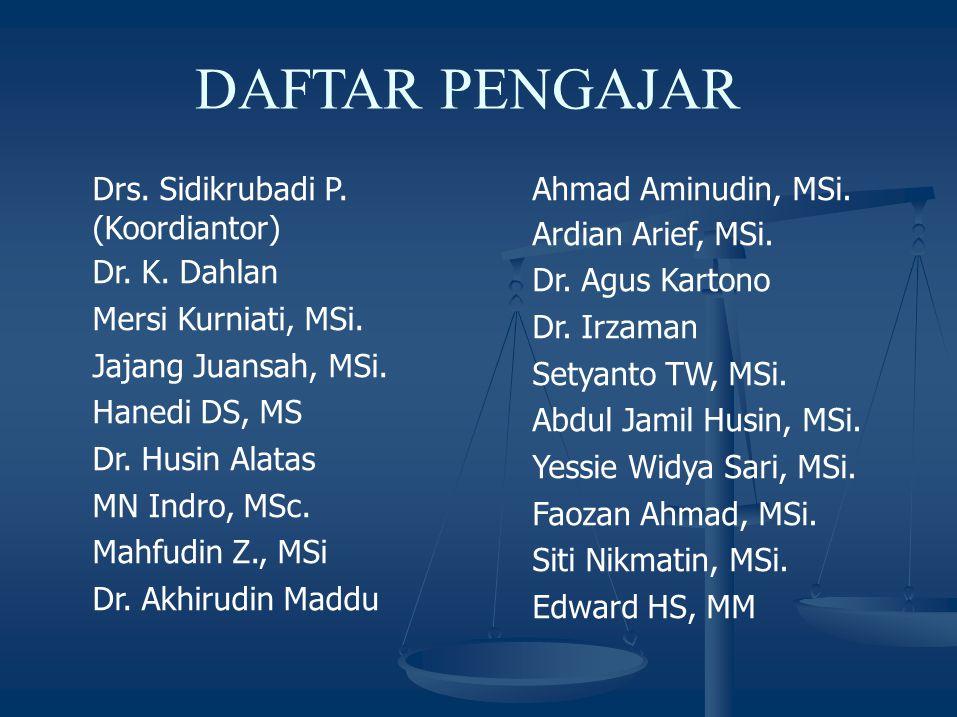 DAFTAR PENGAJAR Drs.Sidikrubadi P. (Koordiantor) Dr.