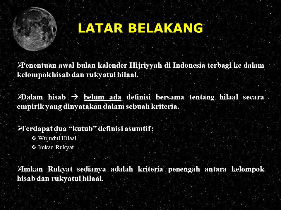 LATAR BELAKANG  Penentuan awal bulan kalender Hijriyyah di Indonesia terbagi ke dalam kelompok hisab dan rukyatul hilaal.  Dalam hisab  belum ada d