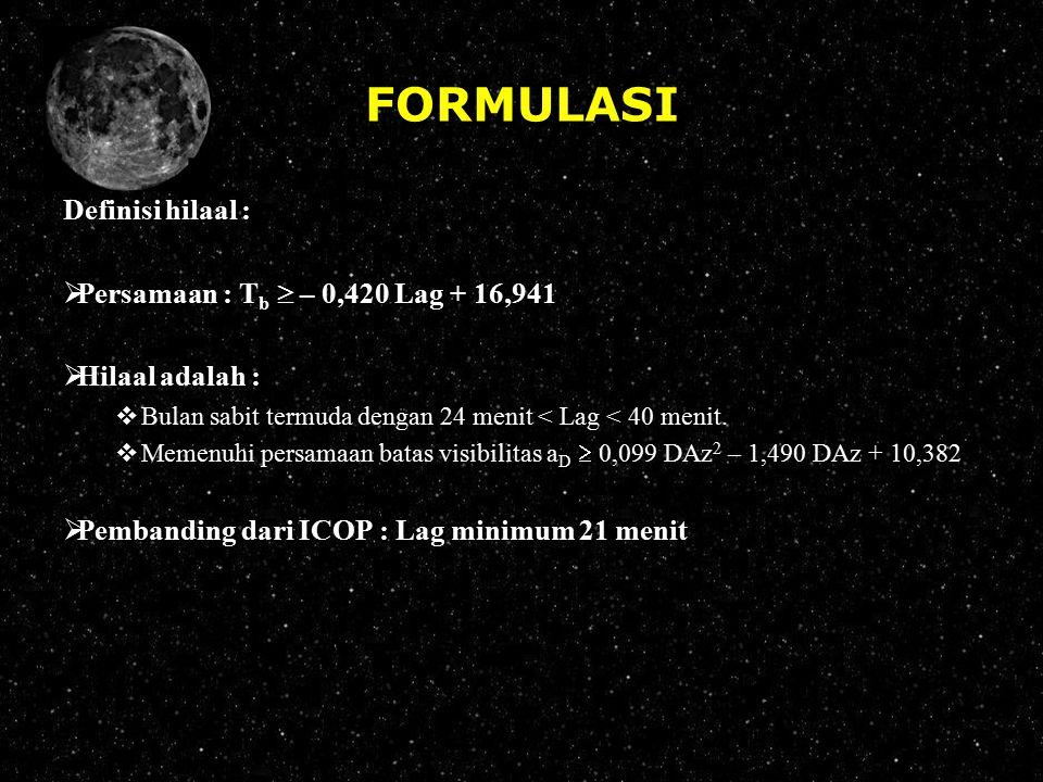 FORMULASI Definisi hilaal :  Persamaan : T b  – 0,420 Lag + 16,941  Hilaal adalah :  Bulan sabit termuda dengan 24 menit < Lag < 40 menit.  Memen