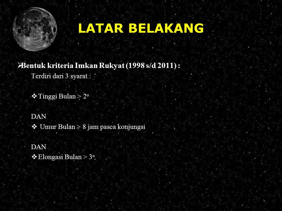 LATAR BELAKANG  Bentuk kriteria Imkan Rukyat (1998 s/d 2011) : Terdiri dari 3 syarat :  Tinggi Bulan > 2 o DAN  Umur Bulan > 8 jam pasca konjungsi