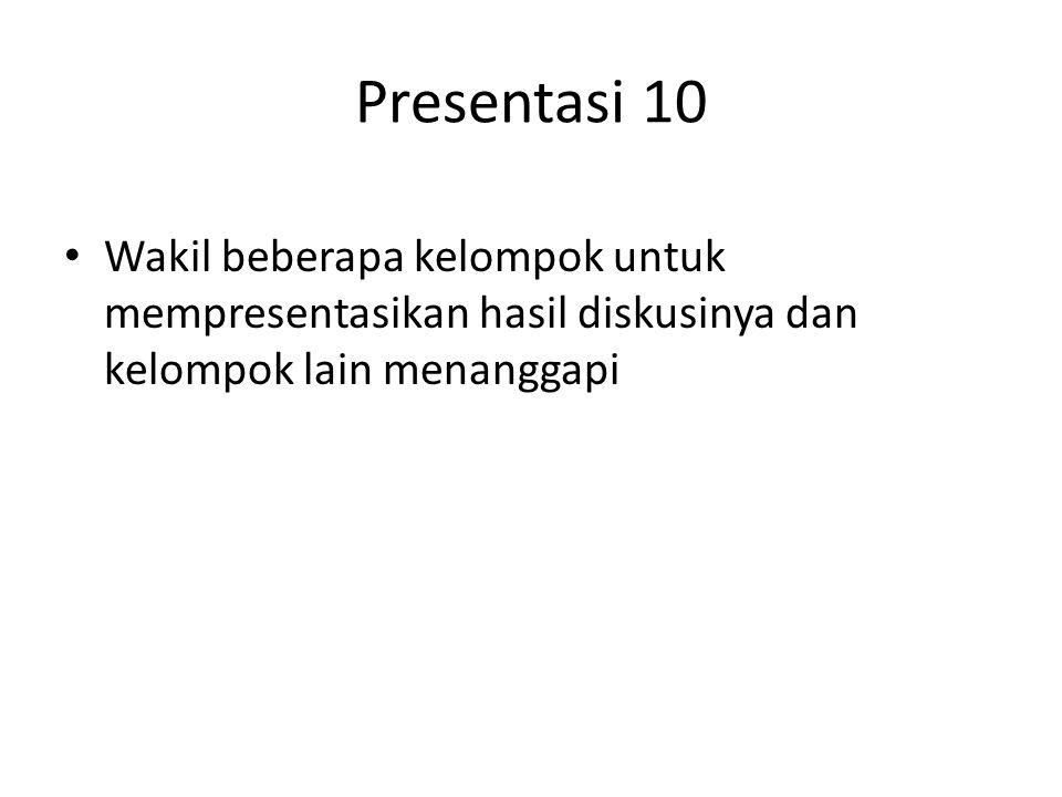 Presentasi 10 Wakil beberapa kelompok untuk mempresentasikan hasil diskusinya dan kelompok lain menanggapi