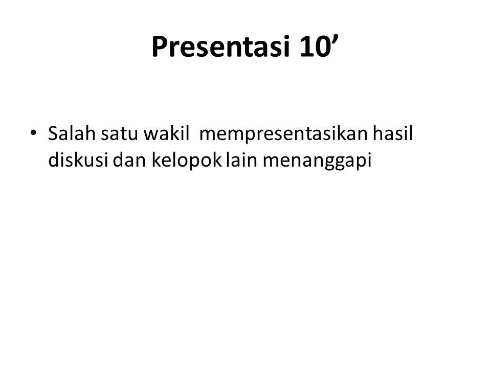 Presentasi 10' Salah satu wakil mempresentasikan hasil diskusi dan kelopok lain menanggapi