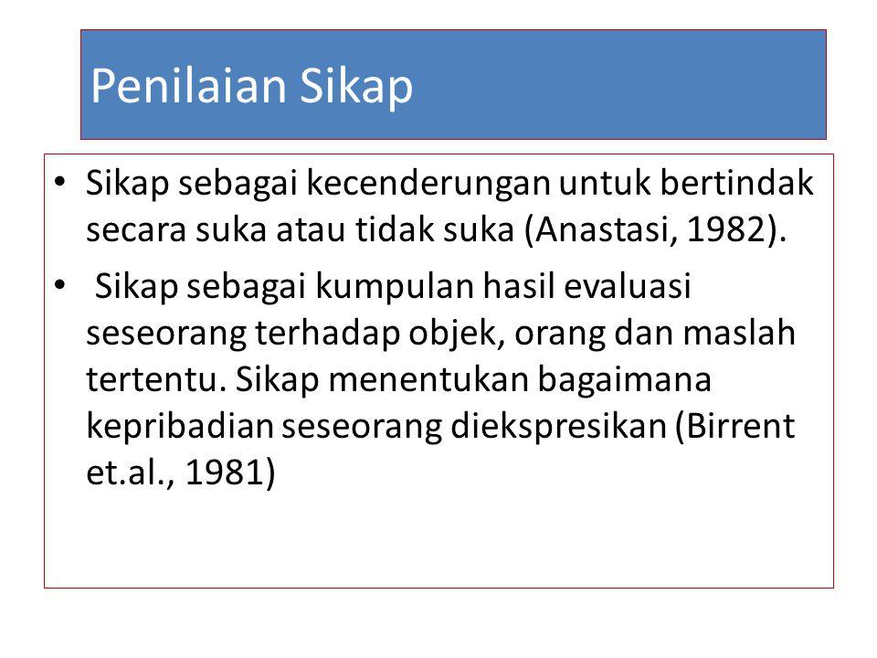 Penilaian Sikap Sikap sebagai kecenderungan untuk bertindak secara suka atau tidak suka (Anastasi, 1982).
