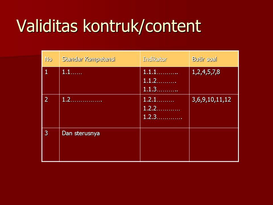 Validitas kontruk/content Butir soal Indikator Standar Kompetensi No 1,2,4,5,7,8 1.1.1 ……….. 1.1.2 ………. 1.1.3 ……….. 1.1 …… 1 3,6,9,10,11,12 1.2.1 ………