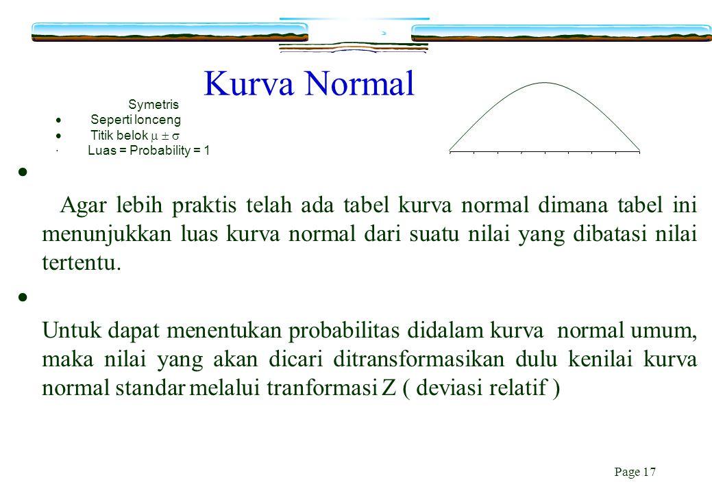 Page 17 Kurva Normal  Agar lebih praktis telah ada tabel kurva normal dimana tabel ini menunjukkan luas kurva normal dari suatu nilai yang dibatasi n