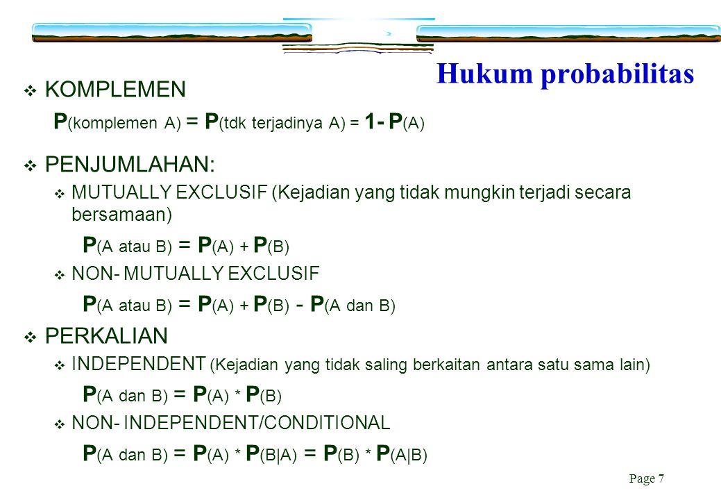 Page 7 Hukum probabilitas  KOMPLEMEN P (komplemen A) = P (tdk terjadinya A) = 1- P (A)  PENJUMLAHAN:  MUTUALLY EXCLUSIF (Kejadian yang tidak mungki