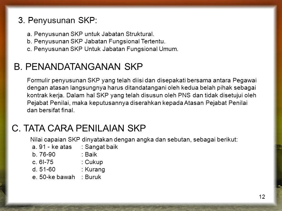 12 3. Penyusunan SKP: a. Penyusunan SKP untuk Jabatan Struktural. b. Penyusunan SKP Jabatan Fungsional Tertentu. c. Penyusunan SKP Untuk Jabatan Fungs