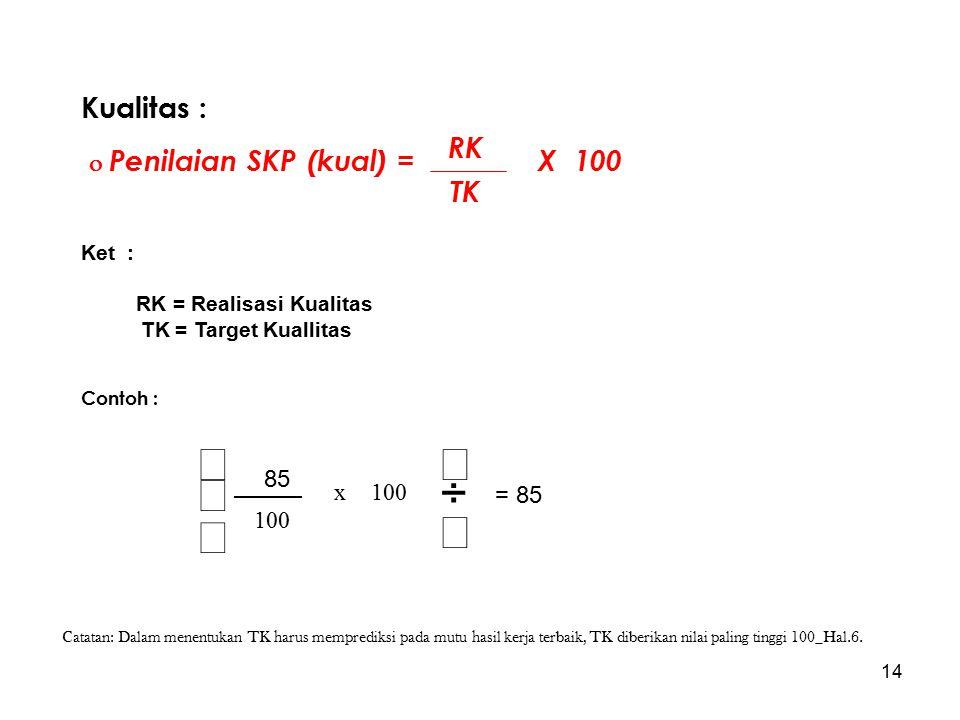 14 Kualitas :  Penilaian SKP (kual) = X 100 Ket : RK = Realisasi Kualitas TK = Target Kuallitas Contoh : RK TK       100 x 8585 = 85 Catatan: D