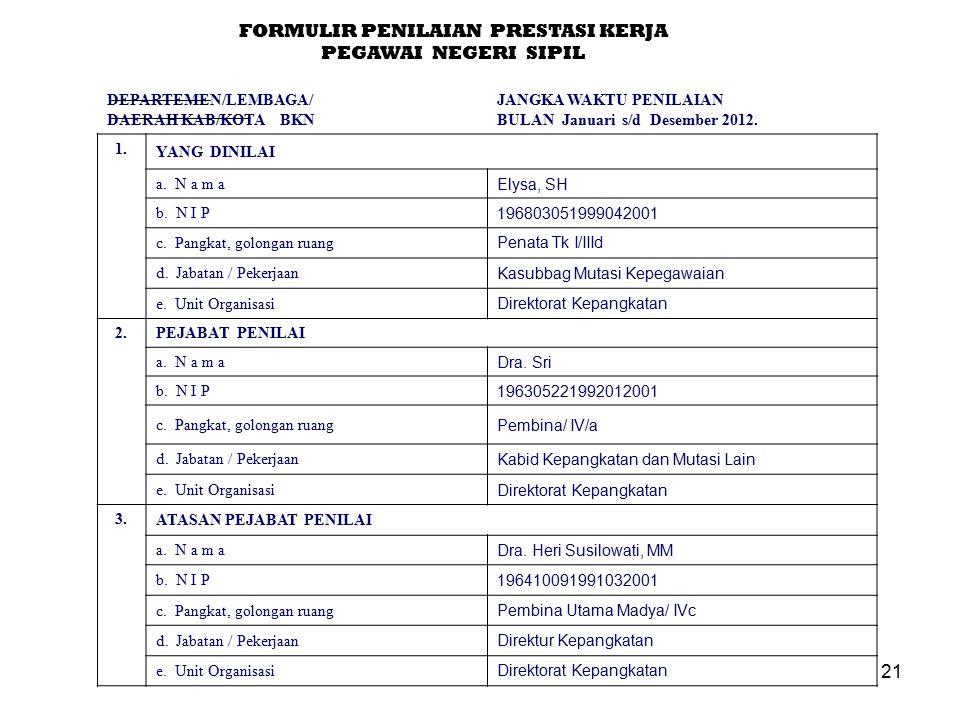 21 FORMULIR PENILAIAN PRESTASI KERJA PEGAWAI NEGERI SIPIL DEPARTEMEN/LEMBAGA/ DAERAH KAB/KOTA BKN JANGKA WAKTU PENILAIAN BULAN Januari s/d Desember 2012.
