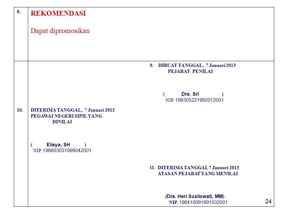 24 8. REKOMENDASI Dapat dipromosikan 9. DIBUAT TANGGAL, 7 Januari 2013 PEJABAT PENILAI ( Dra. Sri ) NIP. 196305221992012001 10.DITERIMA TANGGAL, 7 Jan