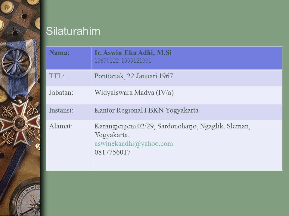 Nama:Ir. Aswin Eka Adhi, M.Si 19670122 1999121001 TTL:Pontianak, 22 Januari 1967 Jabatan:Widyaiswara Madya (IV/a) Instansi:Kantor Regional I BKN Yogya