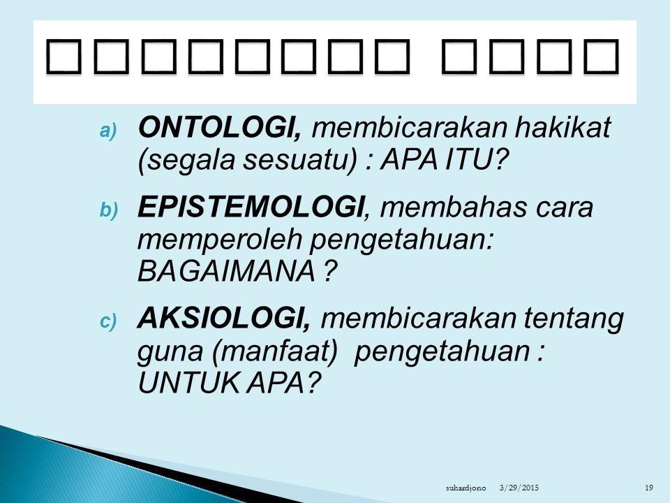 a) ONTOLOGI, membicarakan hakikat (segala sesuatu) : APA ITU? b) EPISTEMOLOGI, membahas cara memperoleh pengetahuan: BAGAIMANA ? c) AKSIOLOGI, membica