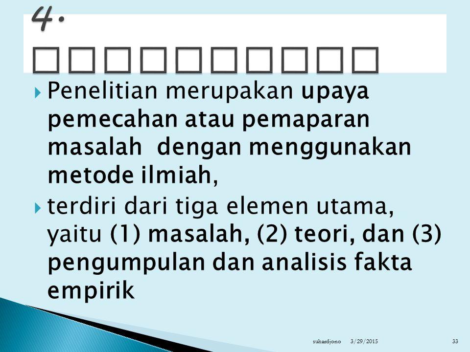  Penelitian merupakan upaya pemecahan atau pemaparan masalah dengan menggunakan metode ilmiah,  terdiri dari tiga elemen utama, yaitu (1) masalah, (