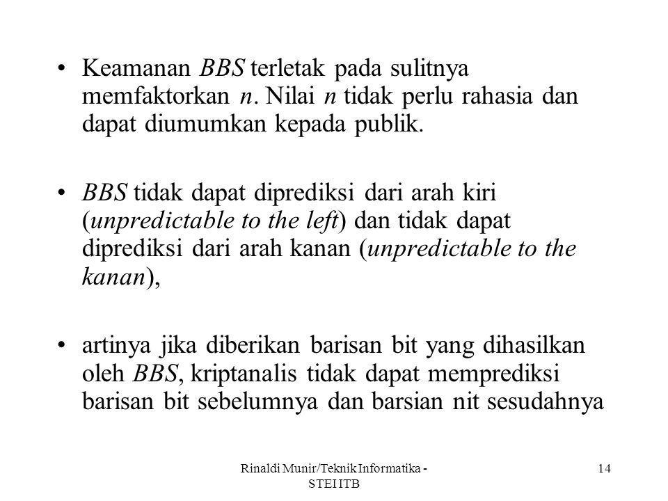 Rinaldi Munir/Teknik Informatika - STEI ITB 14 Keamanan BBS terletak pada sulitnya memfaktorkan n. Nilai n tidak perlu rahasia dan dapat diumumkan kep
