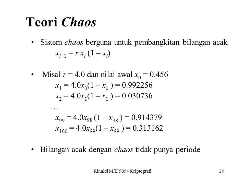 Rinaldi M/IF5054 Kriptografi20 Sistem chaos berguna untuk pembangkitan bilangan acak x i+1 = r x i (1 – x i ) Misal r = 4.0 dan nilai awal x 0 = 0.456