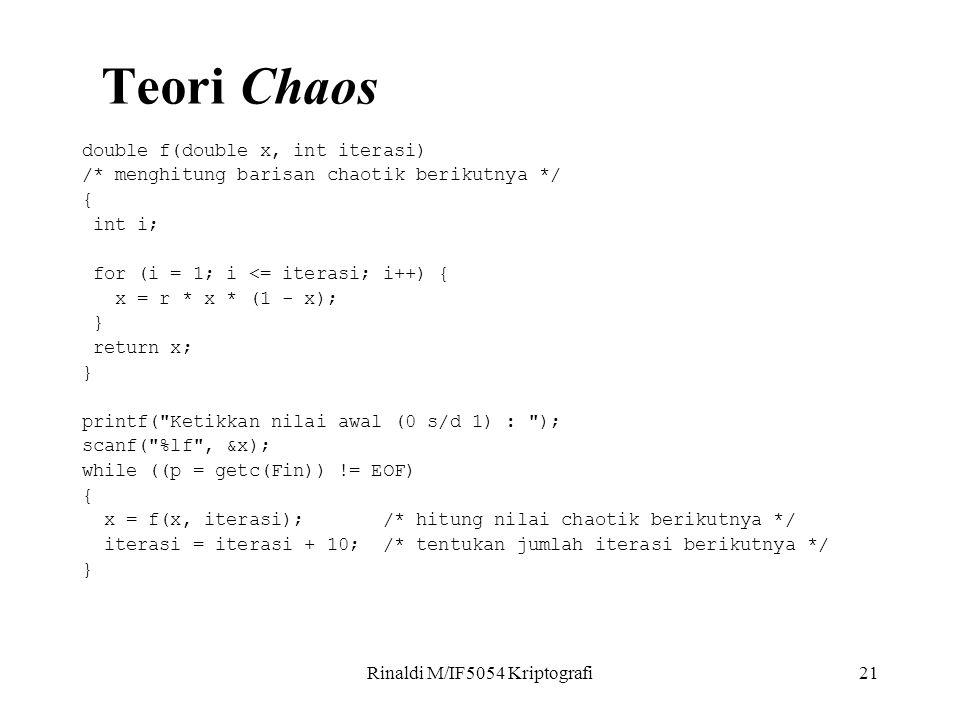 Rinaldi M/IF5054 Kriptografi21 double f(double x, int iterasi) /* menghitung barisan chaotik berikutnya */ { int i; for (i = 1; i <= iterasi; i++) { x