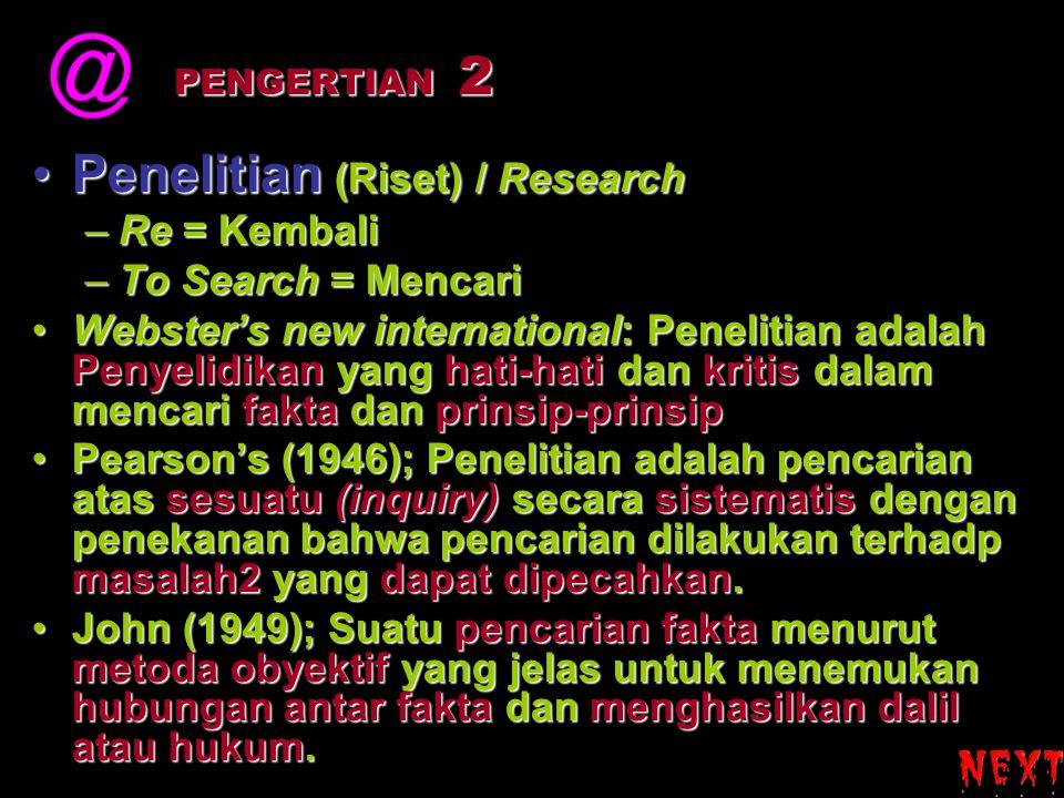 Penelitian (Riset) / ResearchPenelitian (Riset) / Research –Re = Kembali –To Search = Mencari Webster's new international: Penelitian adalah Penyelidi