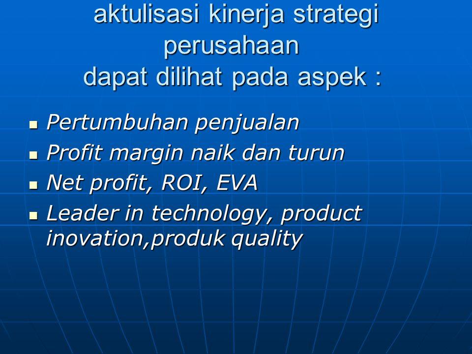 aktulisasi kinerja strategi perusahaan dapat dilihat pada aspek : aktulisasi kinerja strategi perusahaan dapat dilihat pada aspek : Pertumbuhan penjua