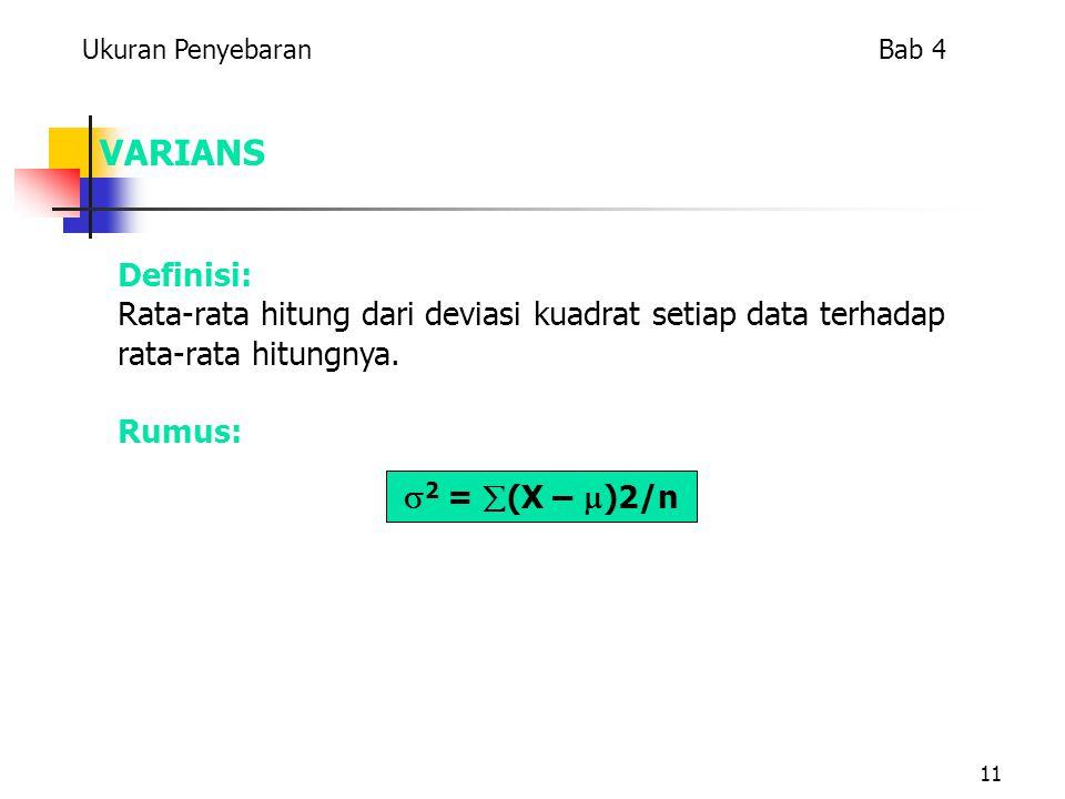 11 VARIANS  2 =  (X –  )2/n Ukuran Penyebaran Bab 4 Definisi: Rata-rata hitung dari deviasi kuadrat setiap data terhadap rata-rata hitungnya.